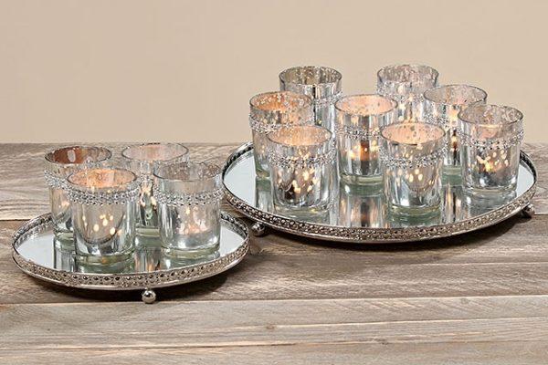 Luxus Windlicht Set in Silber, 9tlg
