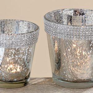 Luxus Windlicht Set in Silber (9/11cm Höhe)